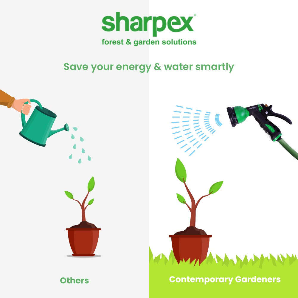 Whether it is about gardening or watering your plants; you need to replace the hardwork smartly.   Save your energy and let the everyday watering ritual be a more comfortable one by bringing home the hose pipe from Sharpex Gardening And Community.  #JoyOfGardening #GardeningAccessories #GardeningTools #ModernGardeningTools #GardeningProducts #GardenProducts #Sharpex #SharpexIndia