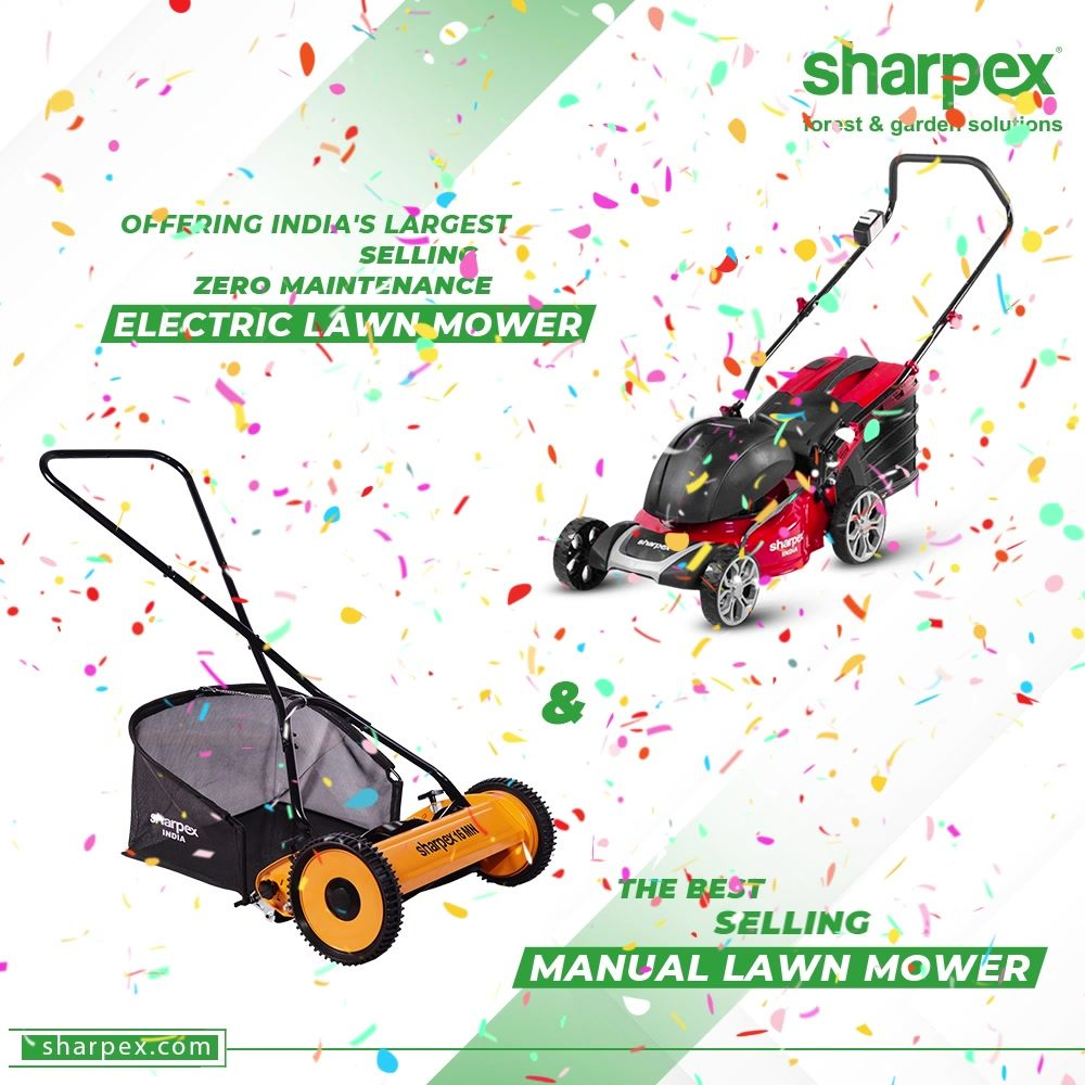 Mow your lawn in a professional way with the premium range of electric lawn mowers and manual lawn mowers from the best;  #sharpexgardeningcommunity #LawnMower #ElectricLawnMower #GardeningTools #ModernGardeningTools #GardeningProducts #GardenProduct #Sharpex #SharpexIndia