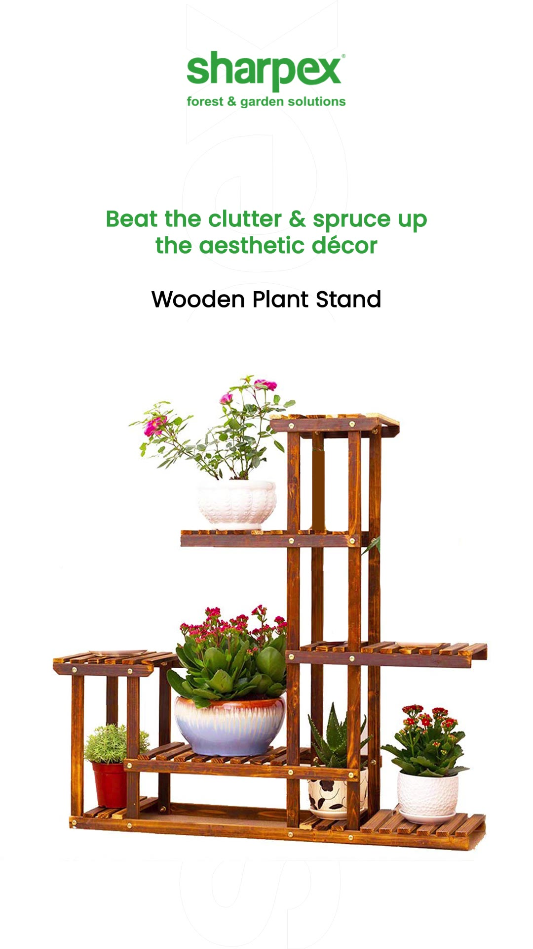 Beat the clutter & spruce up the aesthetic décor.  Bring home the wonderful wooden plant stand!  #WoodenPlantStand #Reels #ReelsOfInstagram #ReelLovers #PlantDecor #GardeningAccessories #GardeningTools #ModernGardeningTools #GardeningProducts #GardenProducts #Sharpex #SharpexIndia